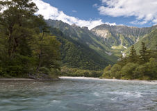 Valley scenery. Kamikochi is a popular resort in the Japanese Alps of Nagano Prefecture Royalty Free Stock Image