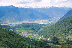 Valley scenery. The landscape of Niyang River Valley in Tibet, China Stock Image