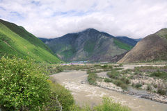 Valley scenery. The landscape of Niyang River in Tibet, China Stock Image
