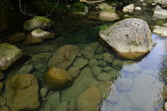 The valley is seamed with small streams of water. Royalty Free Stock Photos