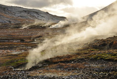 Valley of small geysers, Iceland Stock Images