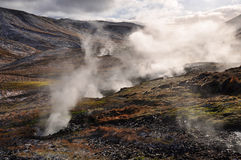Valley of small geysers, Iceland Royalty Free Stock Photos