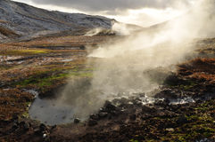 Valley of small geysers, Iceland Royalty Free Stock Image