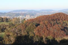 Beautiful valley view and urban area. Valley of Spain beautiful autumn view Royalty Free Stock Photo