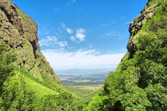 Valley on sunny day. Shot near Landdroskop, Hottentots-Holland Mountains nature reserve, near Somerset West, Western Cape, South Africa Royalty Free Stock Image