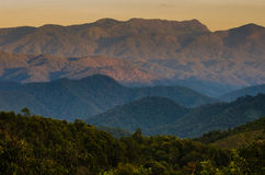 Valley with sunset light Royalty Free Stock Images