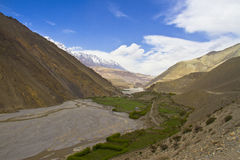 Valley surrounded Himalayan peaks Royalty Free Stock Photo