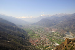 Valley Susa. Valley in northern Italy, view from Sacra di San Michele Royalty Free Stock Photos