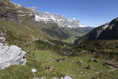 Valley in the Swiss alps Stock Image