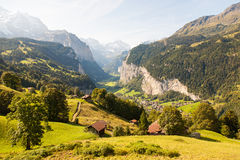 Valley in Swiss alps. Valley, Village in Swiss alps Stock Photos