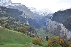 Valley in Switzerland with homes stock photos