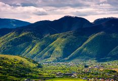 Valley of Synevyr and Nehrovets villages. Beautiful rural landscape of Carpathian mountains stock photography