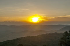 Valley in Tanzania at sunset Royalty Free Stock Image