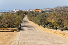 Valley of the Temples. Agrigento, Italy. Pathway in Valley of the Temples Royalty Free Stock Images