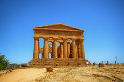 Valley of Temples Agrigento, Italy, Sicily. Valley of Temples Agrigento, Italy, Sicily August 18 2015. The Valley of the Temples of Agrigento, UNESCO heritage royalty free stock images