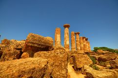 Valley of Temples Agrigento, Italy, Sicily. Valley of Temples Agrigento, Italy, Sicily August 18 2015. The Valley of the Temples of Agrigento, UNESCO heritage stock image