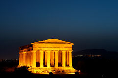 Valley of the Temples at night. Scenic view of illuminated temple in Valley of the Temples at night, Agrigento, Sicily, Italy Stock Images