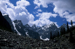 The Valley of the Ten Peaks. In the Canadian Rockies is also known as Desolation Valley. The peaks can be seen from the Consolation Lakes hike, which starts at Stock Photos