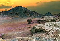 Valley of Timna park at sunrise, Israel. Timna park is a popular geological and historical nature reserve in Israel Royalty Free Stock Photos