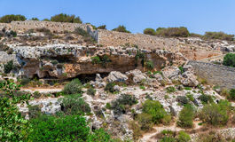 Valley of the Tombs. Punic necropolis and tombs in the region of Bingemma in Malta Royalty Free Stock Photography