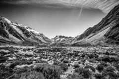 Black and white image of Valley Track in South Island of New Zealand royalty free stock photos