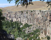 Valley and trees, beautiful nature view. Valley & trees in Central Anatolia Region Stock Photo