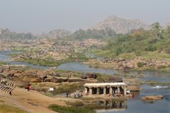Valley of Tungabhadra river, India, Hampi Royalty Free Stock Photo