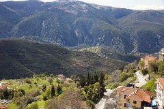 Valley under the mountains. Green valley under the mountains in Arachova, Greece Stock Photo