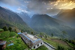 Valley on the vay to Annapurna base camp, Nepal Stock Image