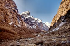 Valley on the vay to Annapurna base camp, Nepal Stock Images