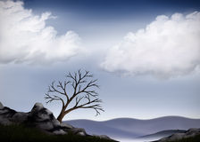 Valley View. A landscape painting of white clouds floating in a light blue sky. A dead tree sits atop a cliff in the foreground of soft misty hills Stock Images
