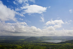 Valley view. A beautiful valley view with the lake and mountains Royalty Free Stock Photos