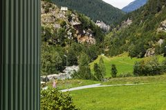 Valley view in the canton Grisons in Switzerland. View from the window of the Rossa valley in the canton Grisons in Switzerland Royalty Free Stock Photo