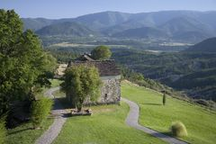 Valley view and Casa de San Martin Inn, in Aragon, in the Pyrenees Mountains, Province of Huesca, Spain Royalty Free Stock Photo