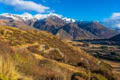 Valley view from Crown Range road, New Zealand Royalty Free Stock Photography