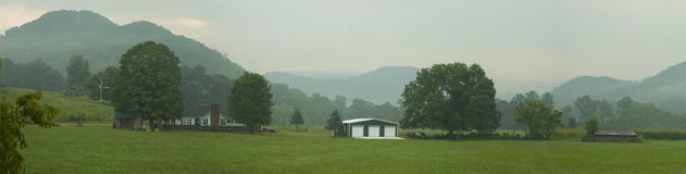 Valley view on smoky mountains Stock Photo