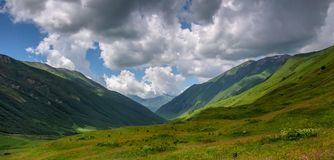 Valley. View on a summer valley in Svaneti mountains, Georgia, Caucasus Royalty Free Stock Photo