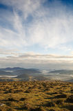 Valley view at sunrise from the top of the mountains, Sierra Salvada Stock Photos