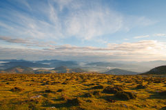 Valley view at sunrise from the top of the mountains, Sierra Salvada Royalty Free Stock Images