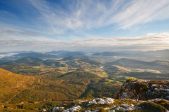 Valley view at sunrise from the top of the mountains, Sierra Salvada Royalty Free Stock Image