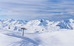 Valley view of Val Thorens Stock Image
