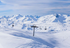 Valley view of Val Thorens Royalty Free Stock Photo