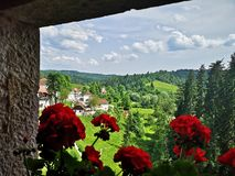 Valley view from window royalty free stock photography