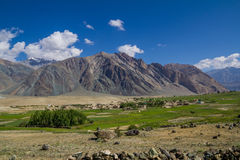 Valley village breathtaking landscape. A valley in the Zanskar range with some breathtaking views Royalty Free Stock Photo