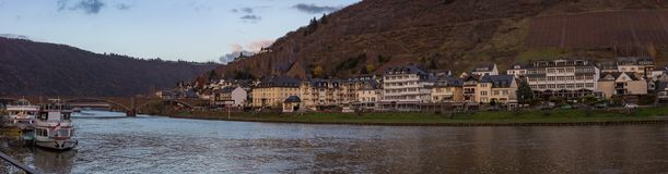 Valley Village Riverbank Panorama at Sunet Stock Images
