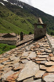 Valley  of Viso. Valley of Viso (Bs), Valcamonica, Lombardy,Italy, The houses of Viso, an  ancient village,detail of  the slate roof of an old house Stock Photography