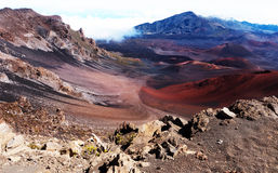 Valley in a volcanic area. Valley near Haleakala volcano Hawaii Stock Photos