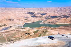 Valley of Wadi Al Mujib river and dam, Jordan Stock Photos
