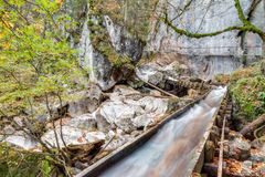 Valley with Watercourse and Waterfalls Royalty Free Stock Images