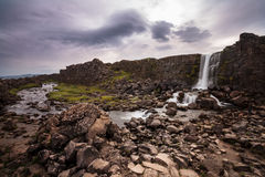 Valley with waterfall in iceland Royalty Free Stock Photography